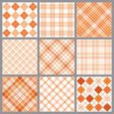 Nine Orange Plaids. An illustration of a set of nine blue plaid patterns vector illustration