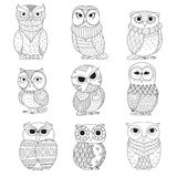 Nine owls design for coloring book, tattoo, shirt design and other decoration Stock Photography