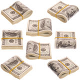 Nine pack of money on white background Stock Image