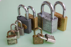 Nine padlocks Stock Images