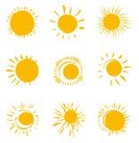 Nine painted solar symbols. Royalty Free Stock Photo
