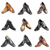 Nine pairs man's shoes Royalty Free Stock Images