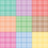 Nine Pastel Plaids Stock Photography