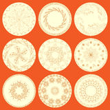 Nine Patterned Plates Stock Photos