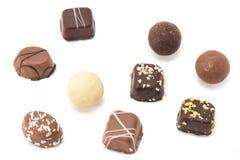 Nine pieces oc chocolate bites Stock Images