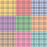 Nine Plaid Patterns. In different colors Royalty Free Stock Photo