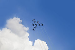 Nine planes in the sky Stock Photos