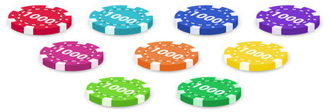 Nine poker chips Stock Photography