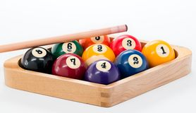 Billard balls racked with a pool cue set for nine ball Royalty Free Stock Photography
