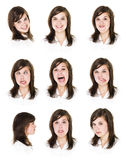 Nine portraits of a woman Royalty Free Stock Photography