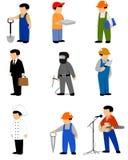 Nine professions set Stock Photos