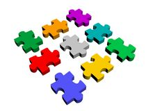 Nine puzzle pieces Royalty Free Stock Images