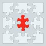 Nine puzzle pieces Stock Photo