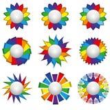 Nine rainbow icons. Set of nine icons of rainbow on a white background. Isolated Objects Stock Image
