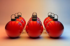 Nine red Christmas baubles Stock Images
