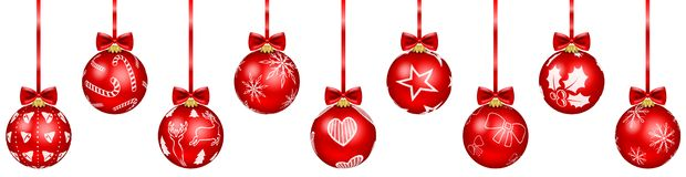 Nine red christmas baubles vector