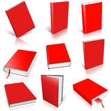 Nine red empty book template Stock Image
