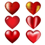 Nine red hearts with highlights. Set of volume red hearts with reflections and pattern Royalty Free Stock Image