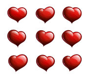 Nine Red Hearts Royalty Free Stock Photo