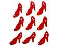 Nine red shoe cookies Royalty Free Stock Image
