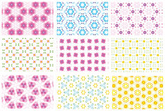 Nine repeated patterns. Nine different repeated pattern backgrounds - additional ai and eps format available on request Stock Image