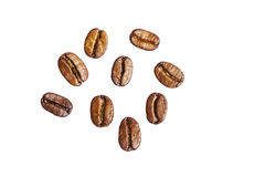Nine roasted coffee arabica beans isolated on white background Royalty Free Stock Images