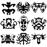 Nine Rorschach Test. Nine ink blot for psychiatric evaluations Stock Images