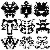 Nine Rorschach Test. Nine ink blot for psychiatric evaluations Stock Image