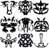 Nine Rorschach Test. Nine ink blot for psychiatric evaluations Stock Photos