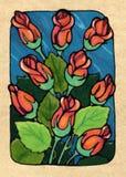 Nine of Roses Royalty Free Stock Image