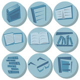 Nine round blue icons of books, bookshelves, pages and glasses isolated Royalty Free Stock Image