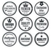 Nine Scalable Vintage Badges stock illustration