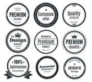 Set of vintage labels or badges. Illustrated set of vintage labels or badges isolated on white background Stock Photos