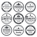 Nine Scalable Vintage Badges. Nine Scalable Badges in vintage style Royalty Free Stock Photo