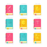 Nine School Lessons Book Covers Vector Illustration Royalty Free Stock Photo
