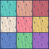 Nine seamless abstract hand-drawn pattern. Bright colors royalty free illustration