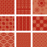 Nine seamless patterns Royalty Free Stock Photo