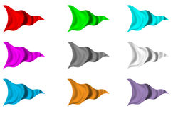 Nine Set of Pennant Flags. Set of nine triangular flags billowing in the wind on white Stock Images