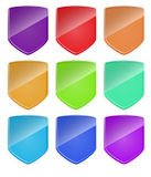 Nine shields of different colors. Vector. Royalty Free Stock Images
