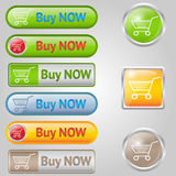 Shiny, stylish Buy buttons with cart Royalty Free Stock Images