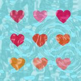 Nine shiny hearts Royalty Free Stock Images