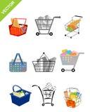 Nine shopping carts Stock Photos