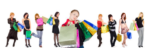 Nine shopping girls group  and happy relaxed one Stock Photography