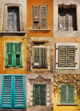 Nine Shuttered Windows Stock Photography