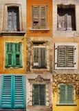 Nine Shuttered Windows Stock Photography