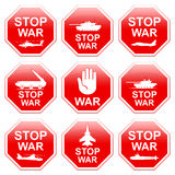 Nine signs stop war. Nine signs stop war  on white background Stock Image