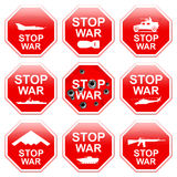 Nine signs stop war. Nine signs stop war  on white background Stock Photography