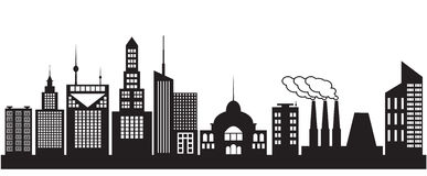 Nine silhouettes of city buildings Stock Image