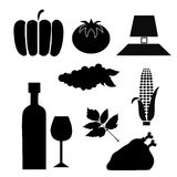 Nine silhouettes for thanksgiving day Stock Image