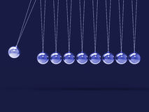 Nine Silver Newtons Cradle Shows Blank Spheres Copyspace For 9 L. Nine Silver Newtons Cradle Showing Blank Spheres Copyspace For 9 Letter Word Royalty Free Stock Images